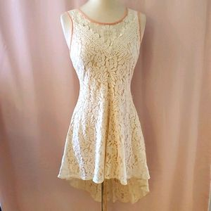 Flying Tomato high-low ivory lace dress szL [847]